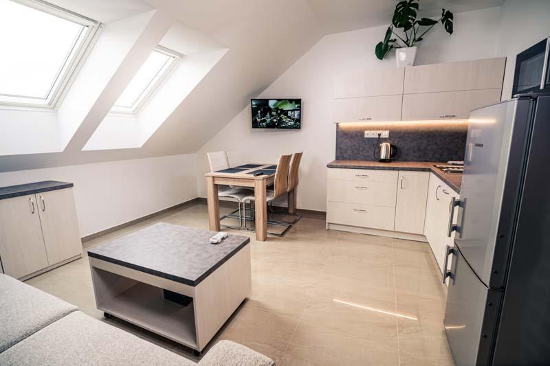 Útulné a dobře zařízené pokoje včetně posezení, televize, kuchyně a ledničky.